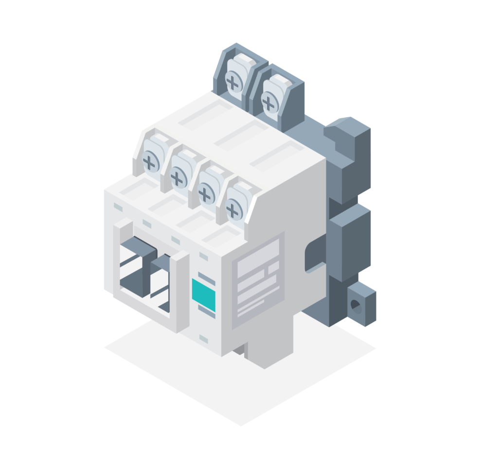 Illustration of a magnetic contactor.